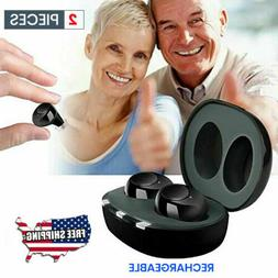 1Pair Invisible Hearing Aids Rechargeable Mini In the Ear Am