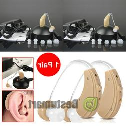 2 Digital Hearing Aids Kit Rechargeable Behind the Ear BTE S