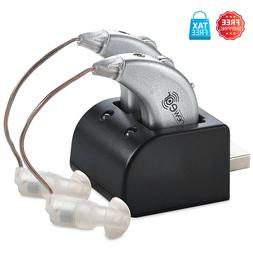 2 Digital Hearing Aids USB Rechargeable Pair Sound Amplifier
