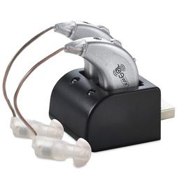 2 Digital Hearing Aids USB Sound Amplifier Pair Behind The E