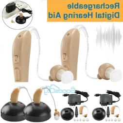 2 Digital Rechargeable Hearing Aids Kit Behind the Ear BTE S