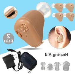 2-PAIRS Rechargeable Digital Mini In Ear Hearing Aid Adjusta