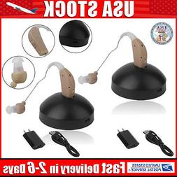 2 Rechargeable  Behind Ear Hearing Aid/Aids Audiphone Sound