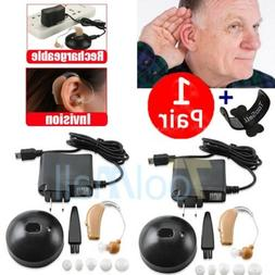 2 Rechargeable Digital Hearing Aid Severe Loss Invisible BTE