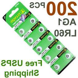 200 PCS LR60 AG1 364 LR621 1.5V Alkaline Battery for Watch /