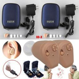 2Packs Rechargeable Digital Hearing Aids Mini In Ear Adjusta