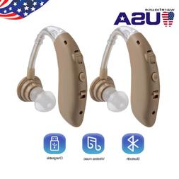 2Pcs Digital Hearing Aid Aids Kit Behind the Ear BTE Sound V