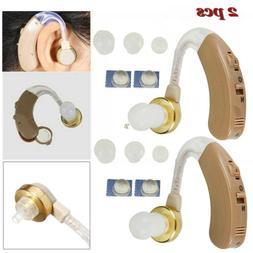 2x Digital Hearing Aid Aids Behind the Ear BTE Adjustable So