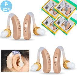 4 Pcs of Digital Hearing Aid Aids Kit Behind the Ear BTE Sou
