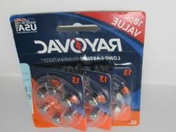 4 x Rayovac Hearing Aid Batteries Size 13 - 18 Pack 72 Batte