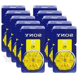 60 x SONY Hearing aid 10 Size batteries Zinc Air PR70 1.4V M