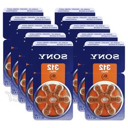 60 x SONY Hearing aid 312 Size batteries Zinc Air PR41 1.4V