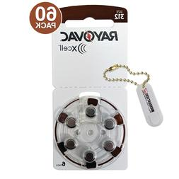 60 Rayovac Xcell Size 312 MF Hearing Aid Batteries + Holder/