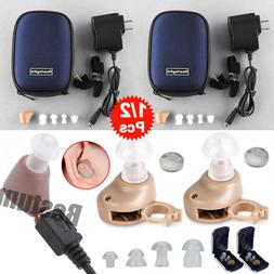 A Pair Rechargeable Digital Small In Ear Hearing Aids Adjust
