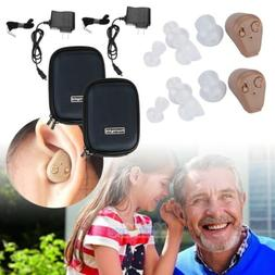 A Pair Rechargeable Digital Mini In Ear Hearing Aid Adjustab