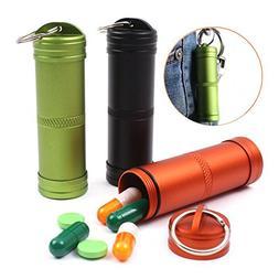 Hihamer 3pcs Camping Survival Waterproof Aluminum Pill Box C