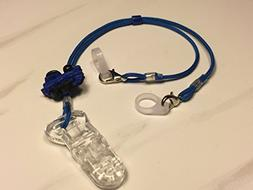 Child Length Blue Train Lanyard Clip for Hearing Aids or Coc