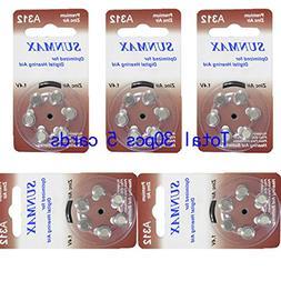 Sunmax 30 X Hearing Aid Batteries A312 312A Za312 312 Pr41 U