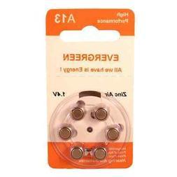 Hearing Aid Battery A13/B6 Evergreen 6PK, Size A13, Zinc Air