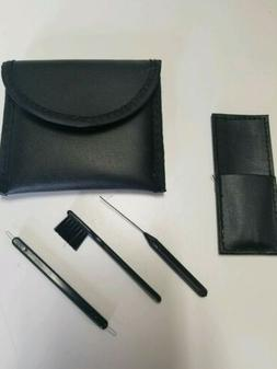 Hearing Aid Carry Pouch Case - Soft - Black Leatherette, wit