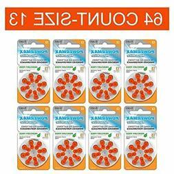 Powermax Size 13 Hearing Aid Batteries, Orange Tab, Zinc Air