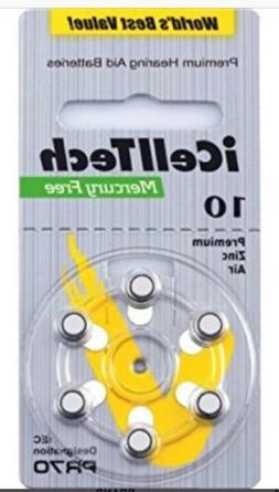 iCell Tech Size 10 Hearing Aid Batteries  3 year shelf life