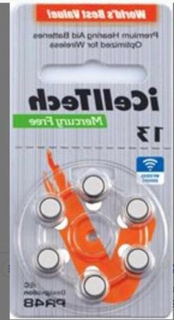 iCell Tech Size 13 Hearing Aid Batteries  3 year shelf life