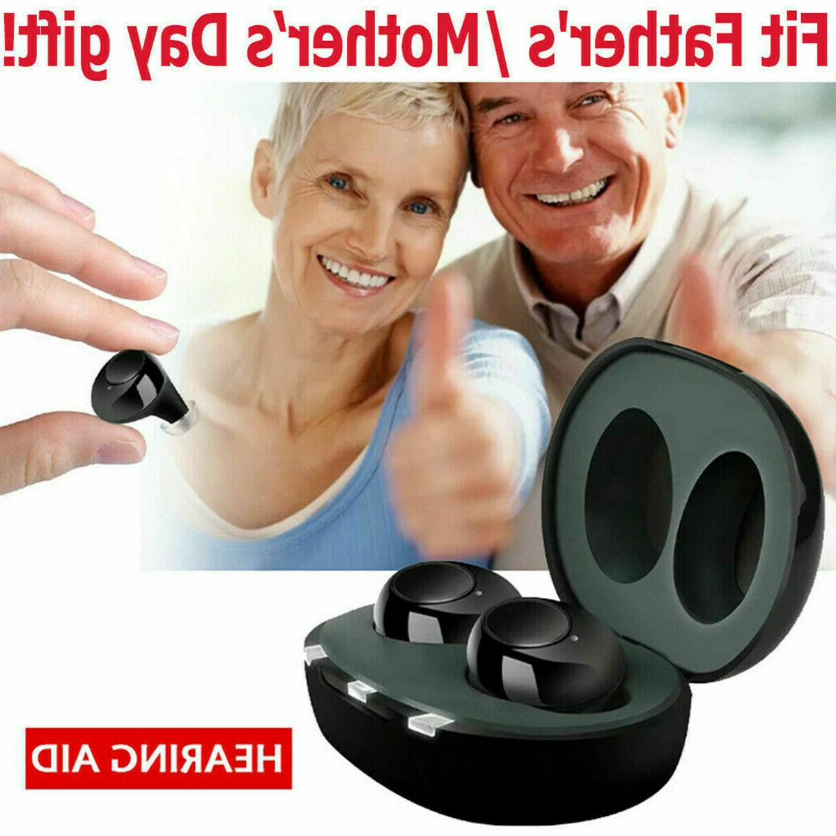 1 Pair Mini Rechargeable Invisible Hearing Aids In the Ear A