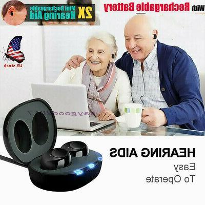 1pair rechargeable digital mini ear hearing aid