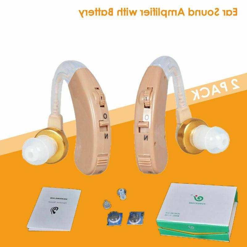 2 digital hearing aids kit battery behind