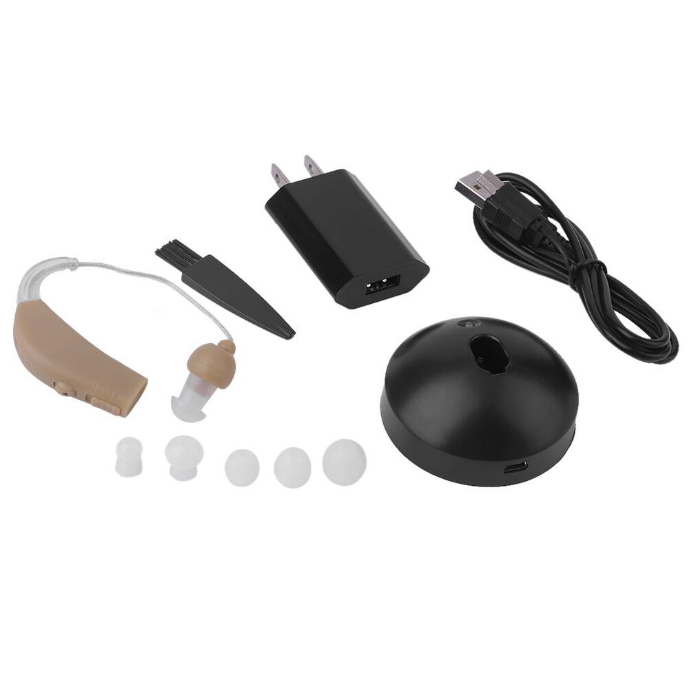 2 Hearing Aids Kit rechargeable Behind Ear BTE Amplifier