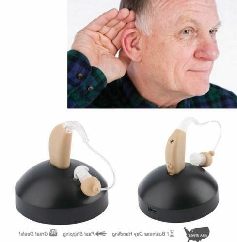 2 Digital Hearing Aids Kit rechargeable Ear Voice Amplifier