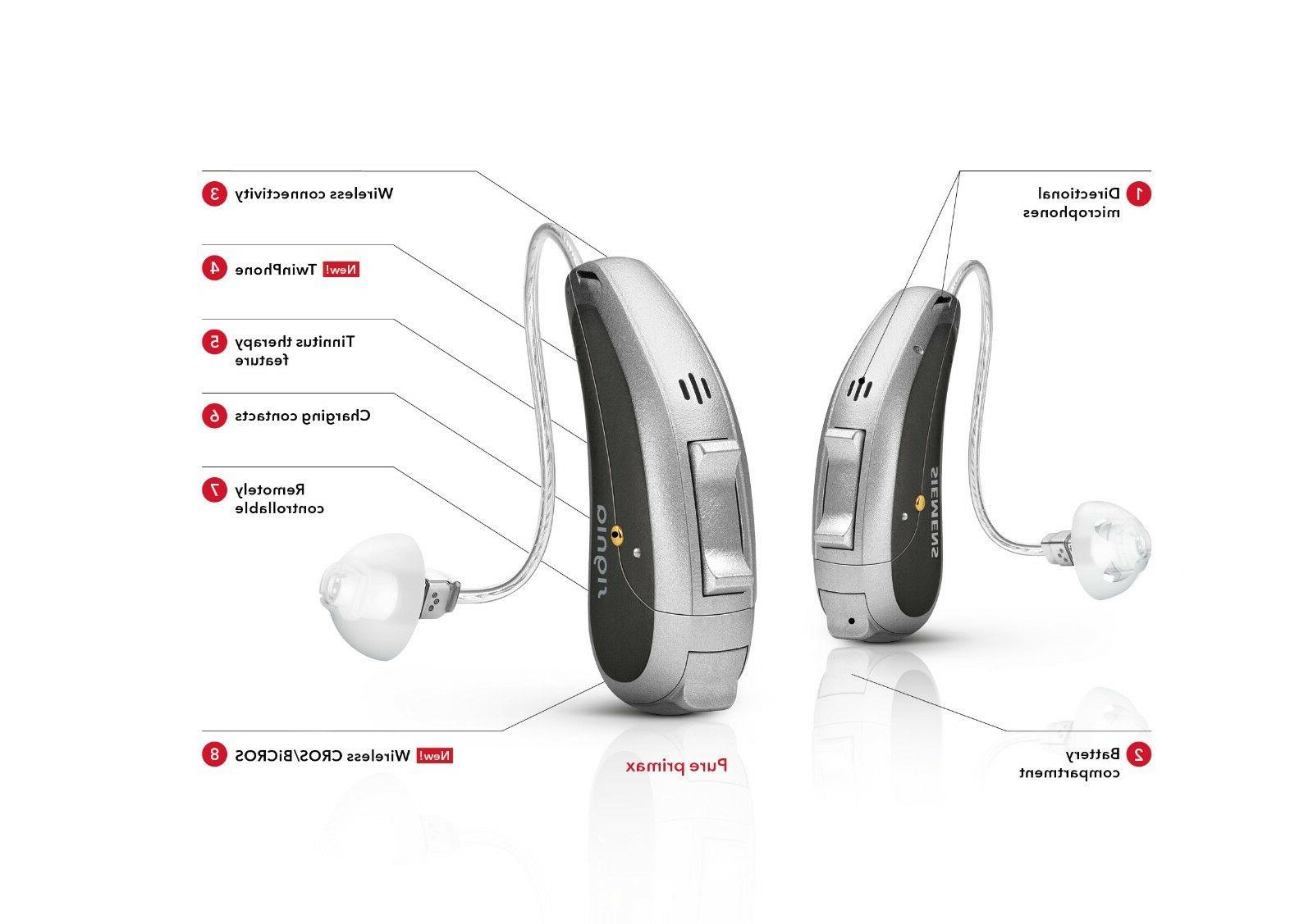 2PC New Siemens Signia Cellion 7px Rechargeable Hearing Aids