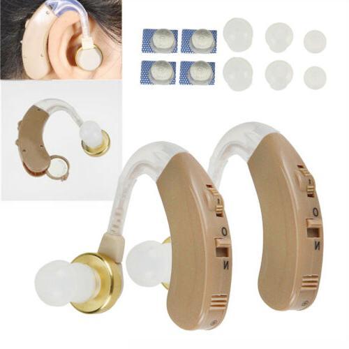 2PCS of Digital Hearing Aid Aids Kit Behind the Ear BTE Soun