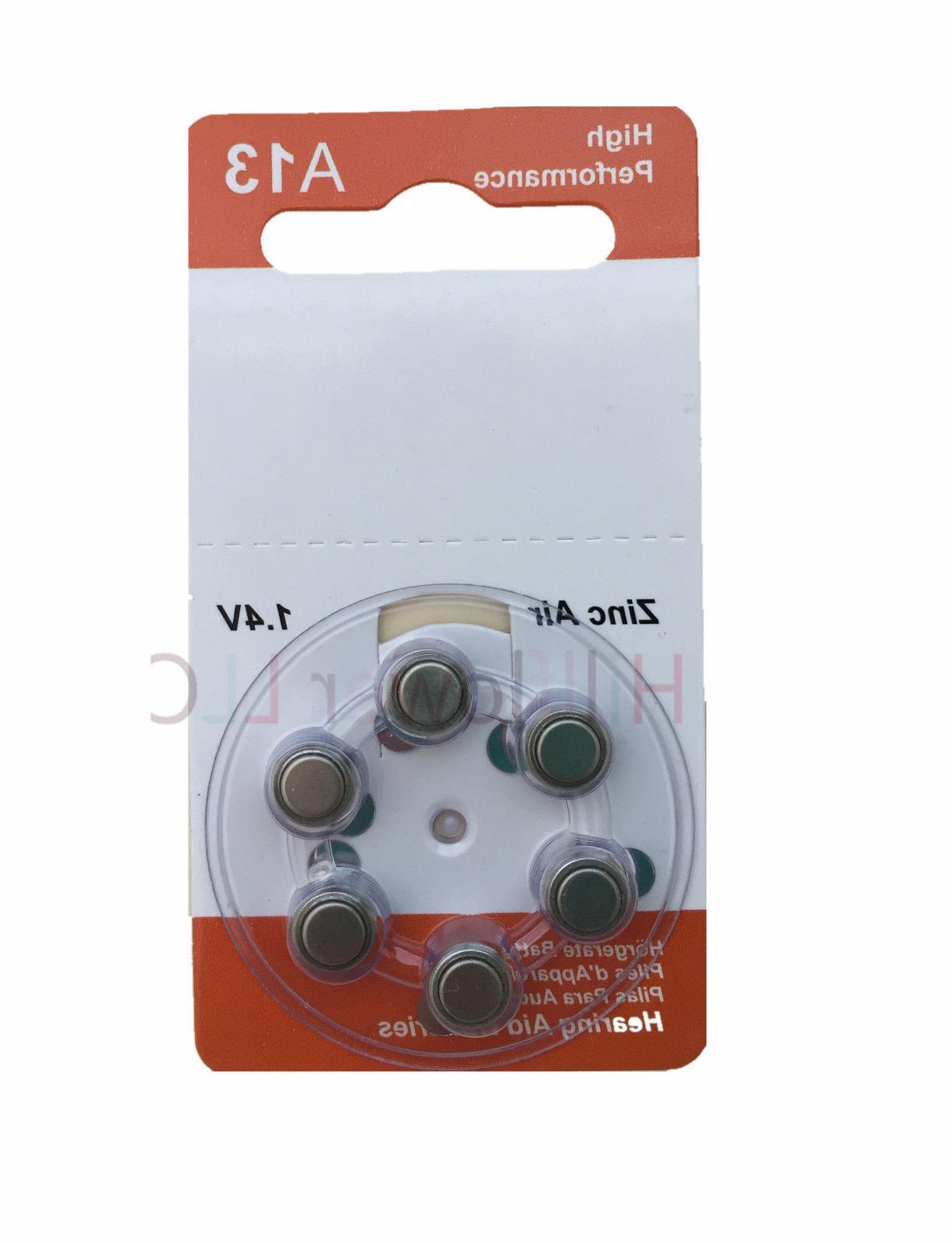 6 pcs A13 13A Size 13 PR48 Card 1.5V Zinc Air Hearing Aid Ba