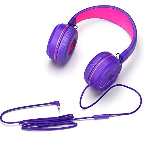 Artix Foldable On-Ear Tangle-Free Compact Stereo with In-line Microphone Controls for Children, Adult Head Phones for Travel- Purple