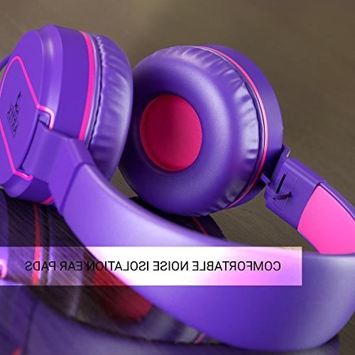 Artix Tangle-Free Wired Headphones, Stereo with Microphone and Children, Adult Head Phones for Running Travel- Purple