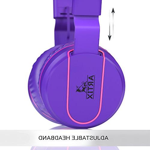 Artix Adjustable Tangle-Free Wired Stereo Earphones In-line Microphone and Controls Children, Teen, Head Phones Running Travel-