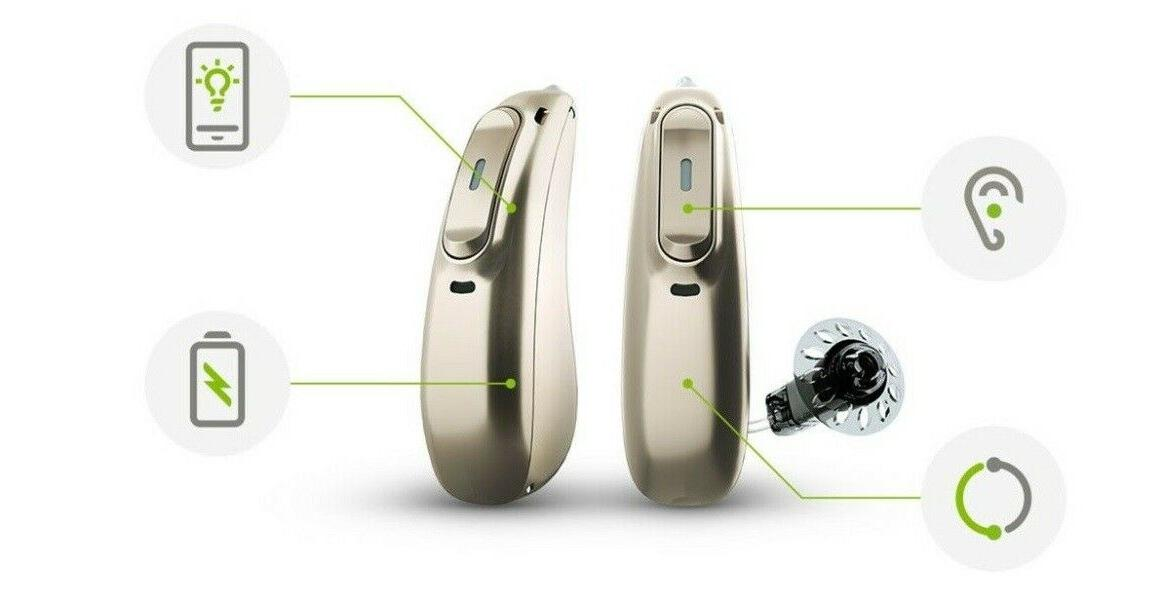 A Pair of Phonak M90-R Rechargeable RIC aids w/