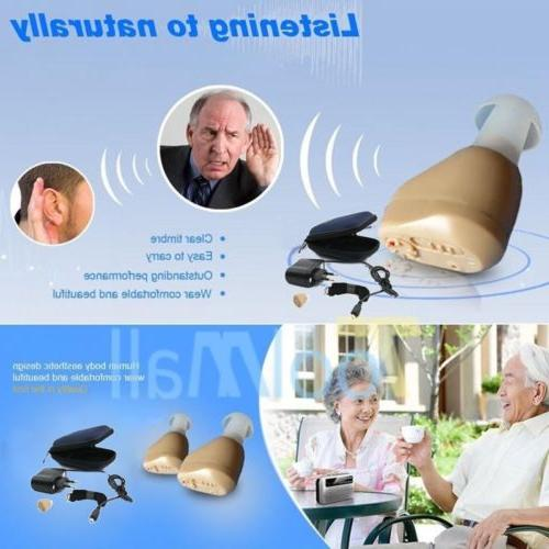A Pair Rechargeable Mini In Hearing Aid Adjustable Amplifier US