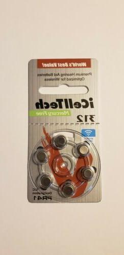 iCellTech Hearing Aid Batteries-6 PK-Sz 312, Pr41,P312-Date-