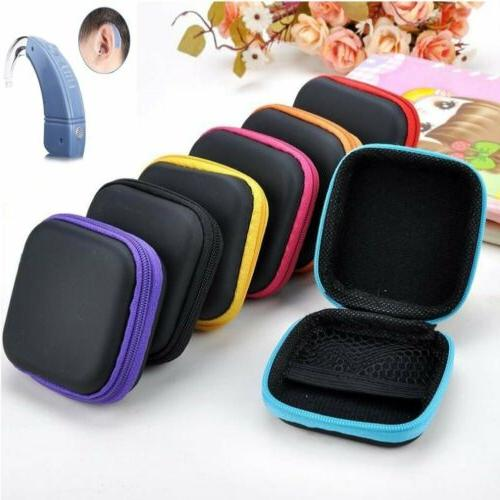 3 Colors Square Black Zip Storage Hearing Aid Case Hard Carr