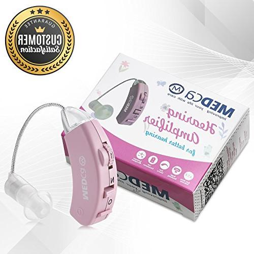 Digital Hearing Ear Digital Sound for of Hearing, Noise Reducing Pink by