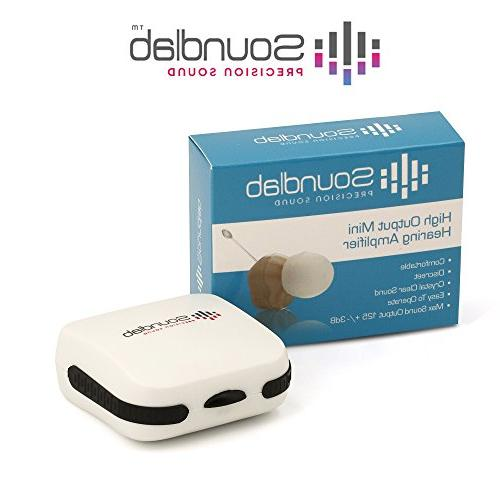 Soundlab Amplifier – Dime-Sized, , with Soft Gel and Hearing Aid Batteries