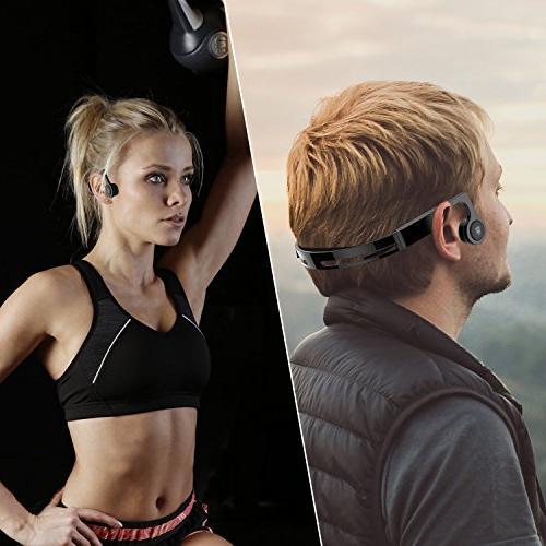 HSBC Open Ear Bone Conduction Headphones,Bluetooth V4.2 Earphones Built-in Sweatproof Sports