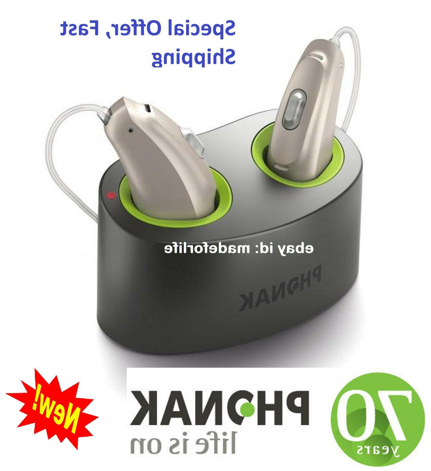 Pair of New Phonak Audeo B-50R RIC Rechargeable Hearing aids