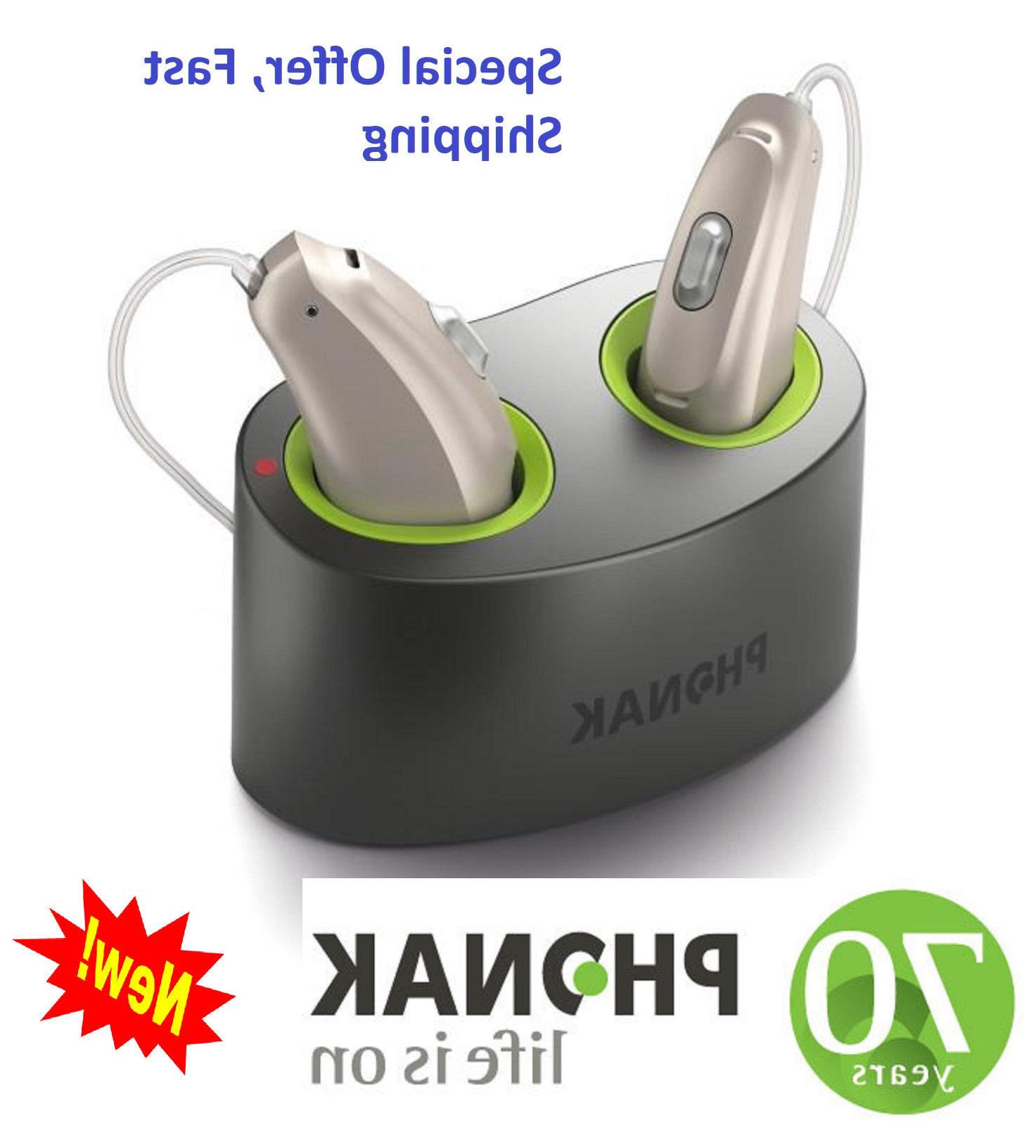 Pair of New Phonak Audeo B-70R RIC Rechargeable Hearing aids