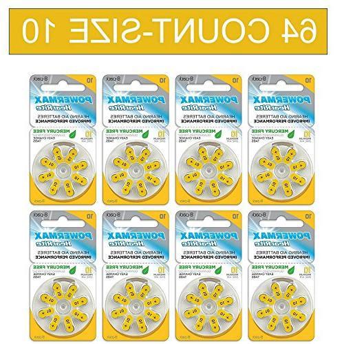 powermax size 10 hearing aid batteries yellow