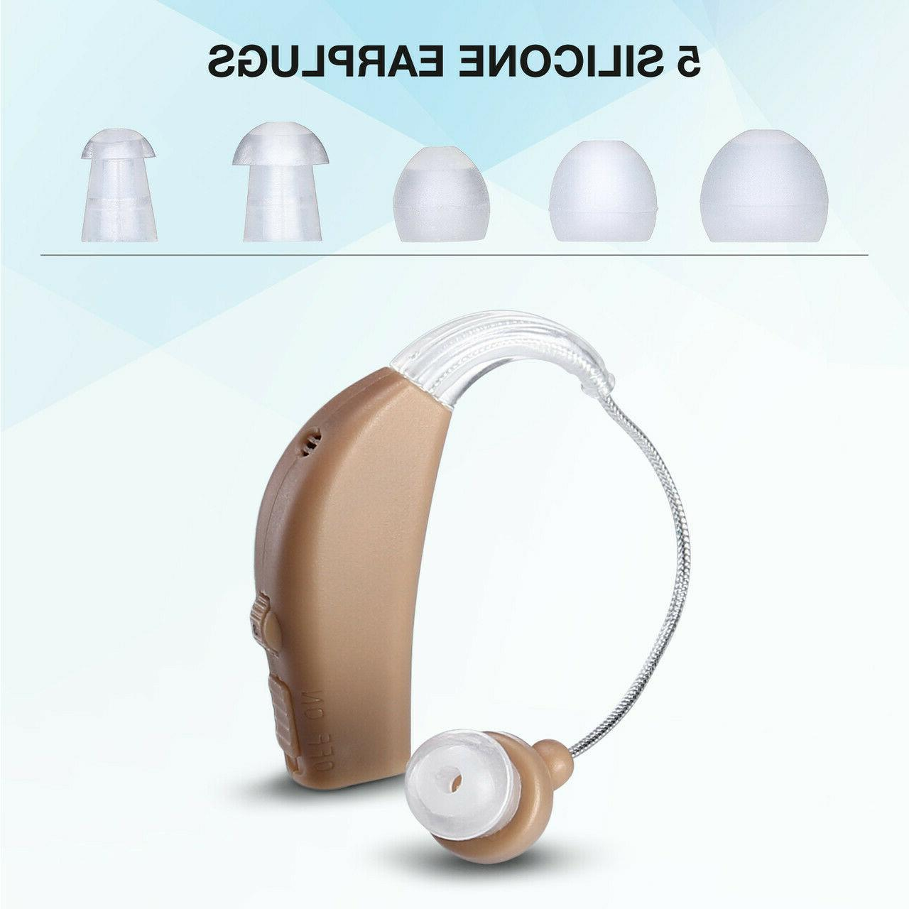 Rechargeable Digital Hearing Aids Behind Ear Sound 1Pair