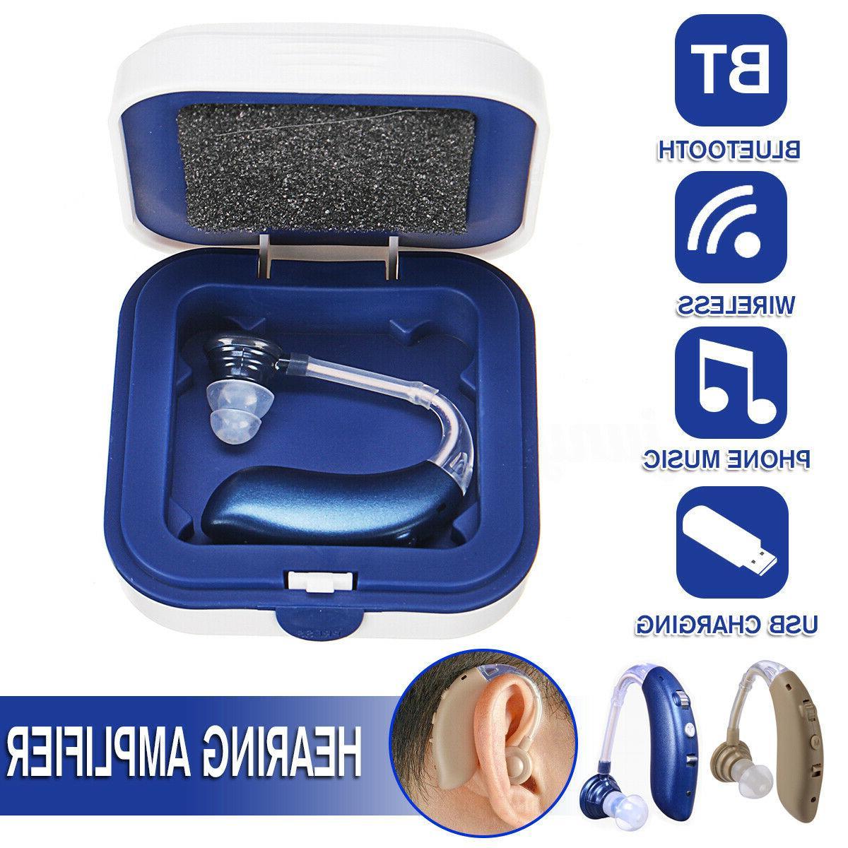 Wireless bluetooth Digital BTE Hearing Ear Amplifier USB